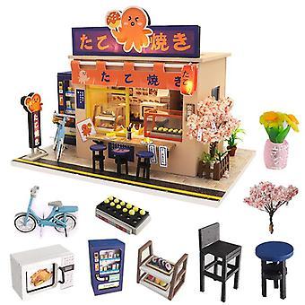 Japanse stijl snackbar diy houten poppenhuis miniaturas met meubels diy huis huis poppenhuis speelgoed voor kinderen kerstmis
