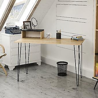 Desk Alves, Color Oak, Black in Melamine Chipboard, Metal, L120xP60xA75 cm