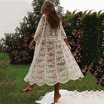 Mulheres de biquíni de verão cobrem ups beach coat maiô renda beachwear roupa proteção solar malhado