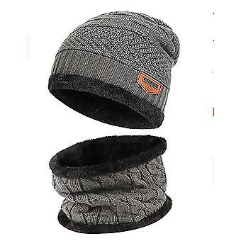 2-delige winter beanie warm gebreide dikke fleece cap en hals kraag voor volwassen (grijs)