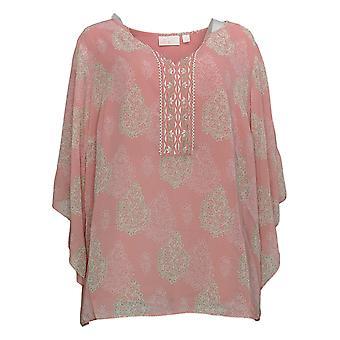 Belle av Kim Gravel Women's Plus Topp trykt bluse rosa A374452
