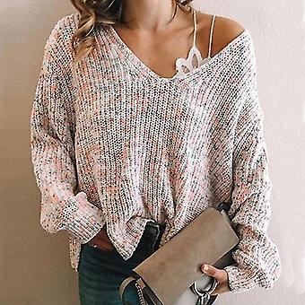 V-neck Long Sleeve Knitwear Pullover