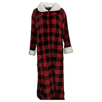 Soft & Cozy Women's M/L Zip Front Velvet Robe Red 670894