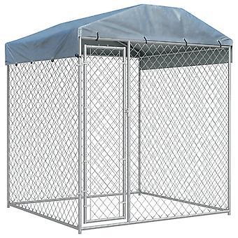 Hund udendørs bur med beskyttende baldakin 2x2x2,1 m