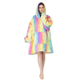 Homemiyn Damen Wellpappe Bunte Hoode Robe Pyjamas Casual Loose Big Pocket Nachthemden