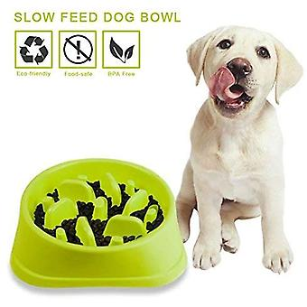 Lemmikkieläinten ruokavälineet, muovinen lemmikkikulho Serrated Type Round Slow Food Bowl Anti Choke Cat Bowl Dog Bowl (vihreä 20,5 * 18,5 * 4,5cm