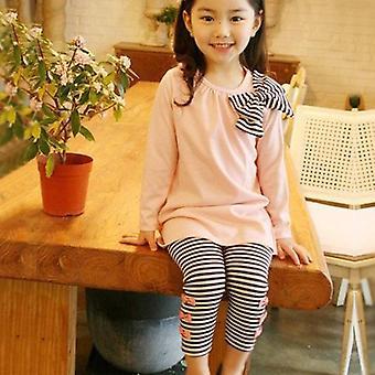 Girl Kids Bow póló ruha hosszú felső csíkos nadrág set nadrág felszerelés