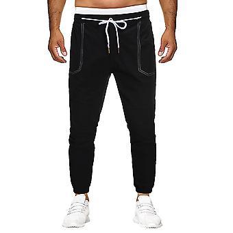 Yunyun Men's Tethered Thin Straight Pocket Elastic Casual Soft Pants