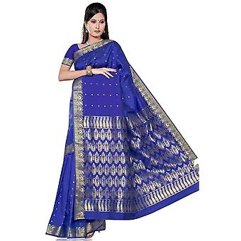 Blu - Sari di seta di arte di Benares / Saree/Bellydance tessuto (India)