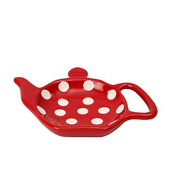 Dexam Polka Dot Tea Bag Holder, Claret Red