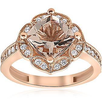 2 1/3ct Cushion Morganite Vintage Diamond Halo Engagement Ring 14K Rose Gold