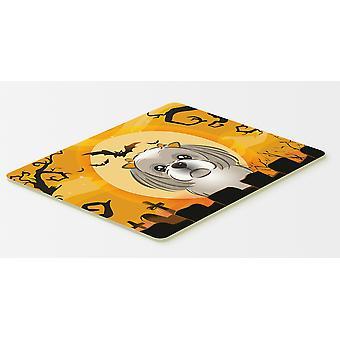 Halloween harmaa hopea Shih Tzu keittiöön tai kylpy matto 20 x 30
