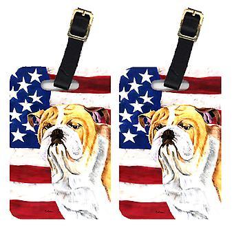 Pair of USA American Flag with Bulldog English Luggage Tags