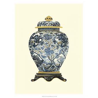 Blå porselen Vase II plakat ut av visjon studio (18 x 25)