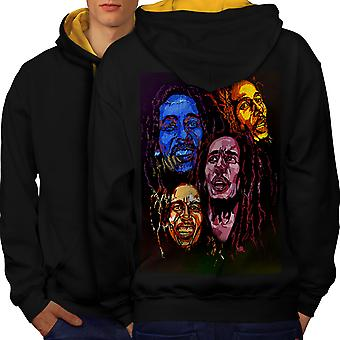 Bob Marley värit miesten musta (Gold Hood) kontrasti huppari takaisin | Wellcoda