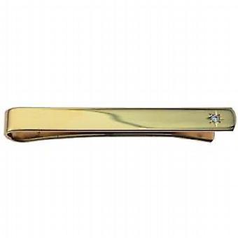 Tvrdé zlaté pokovené 6x55mm hvězdicové nastavení CZ tie slide
