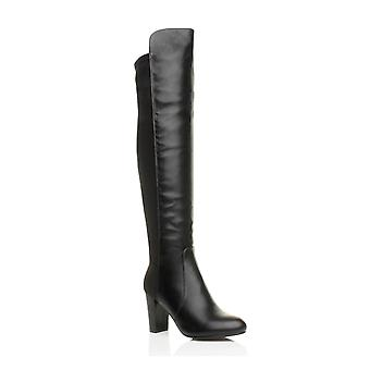 Ajvani womens block high heel fur lined over the knee stretch riding boots