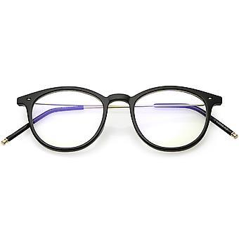 Vintage inspirierte Horn umrandeten Brille Ultra dünnen Arme Runde Lichtscheibe 48mm