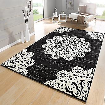 Blanc crème velours concepteur tapis dentelle noir | 102420