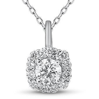5 / 8ct coussin Halo diamant pendentif 14k or blanc & chaîne 18