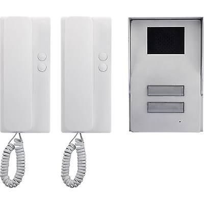 Basetech 1437489 Door intercom Corded Complete kit Semi-detached Silver, White