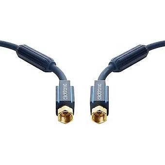 clicktronic SAT Cable [1 x prise de F - 1 x fiche F] plaqué d'or 15 m 95 dB connecteurs, noyau de ferrite incl. bleu