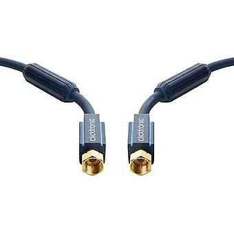 clicktronic SAT kabel [1 x F plug - 1 x F plug] 2 m 95 dB vergulde connectoren, incl. ferrietkern blauw