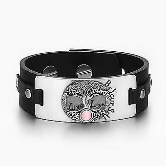 Livets træ Live kærlighed være din Self keltiske Amulet Pink simulerede katte øje sort læder armbånd
