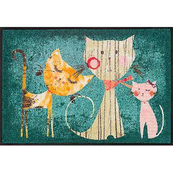tvätt + torr matta Klara, Lisa & Marie 50 x 75 cm tvättbar smuts matta katt Välkommen