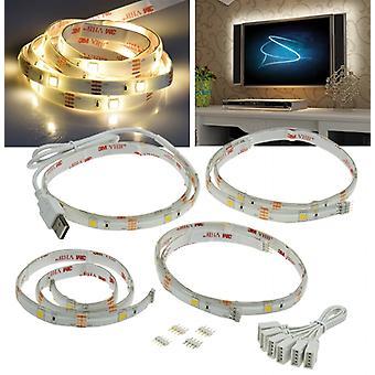 LED stripe set TV backlight USB, 4 x 50 cm warm white 3000 K TV ambient