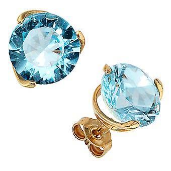 Studs boutons 585 Gold Yellow Gold 2 Blue Topaz Earrings gold gemstone earrings