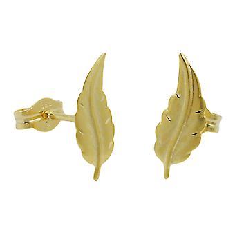 Pendientes oro 333 enchufe mate diamante corte, hoja de oro de 8 kt
