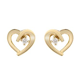 Coralie argent 925 boucles d'oreilles or bicolore coeur avec 1 Zirconium - zo-7370 G