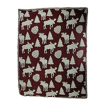 Red and White Moose Melange Ultra Soft Double Plush Fleece Throw Blanket