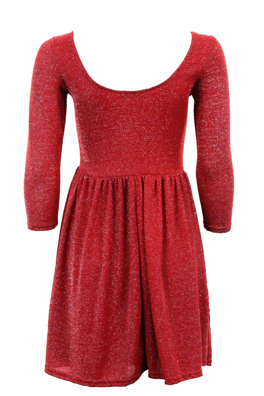 Ladies 3/4 Sleeve Lurex Shiny Low Back Pleated Skater Short Women's Dress