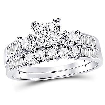 7/8 Carat (Color H-I, I1-I2) Princess Cut Diamond Engagement Ring Bridal Wedding Set in 10K White Gold