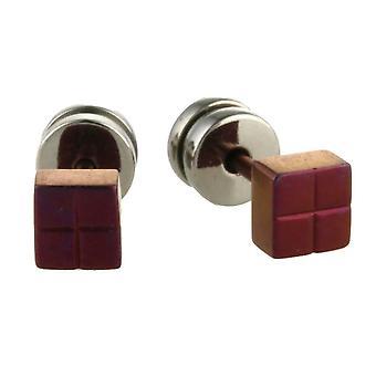 Ti2 Titanium Square Stud Earrings - Mulberry Brown