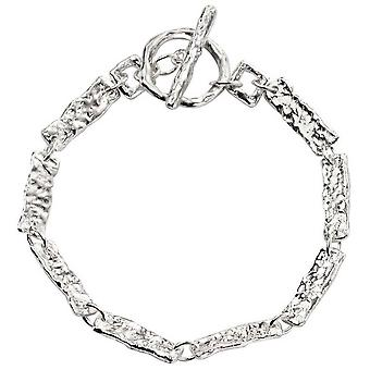Beginnings Hammered Rectangle Link T Bar Bracelet - Silver