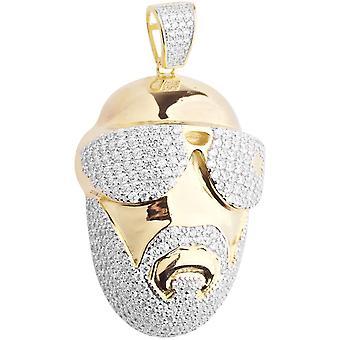 Premie Bling - 925 sterling zilver 3D rapper hanger goud