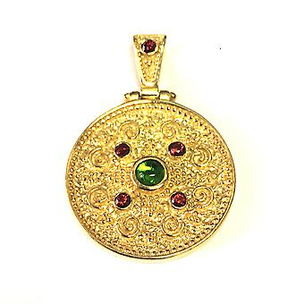 Sterling Silver 18 Karat Gold Overlay Byzantine Round Pendant