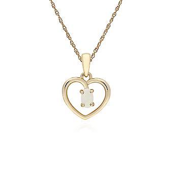Gemondo 9ct Yellow Gold Opal Oval Single Stone Heart Pendant on 45cm Chain