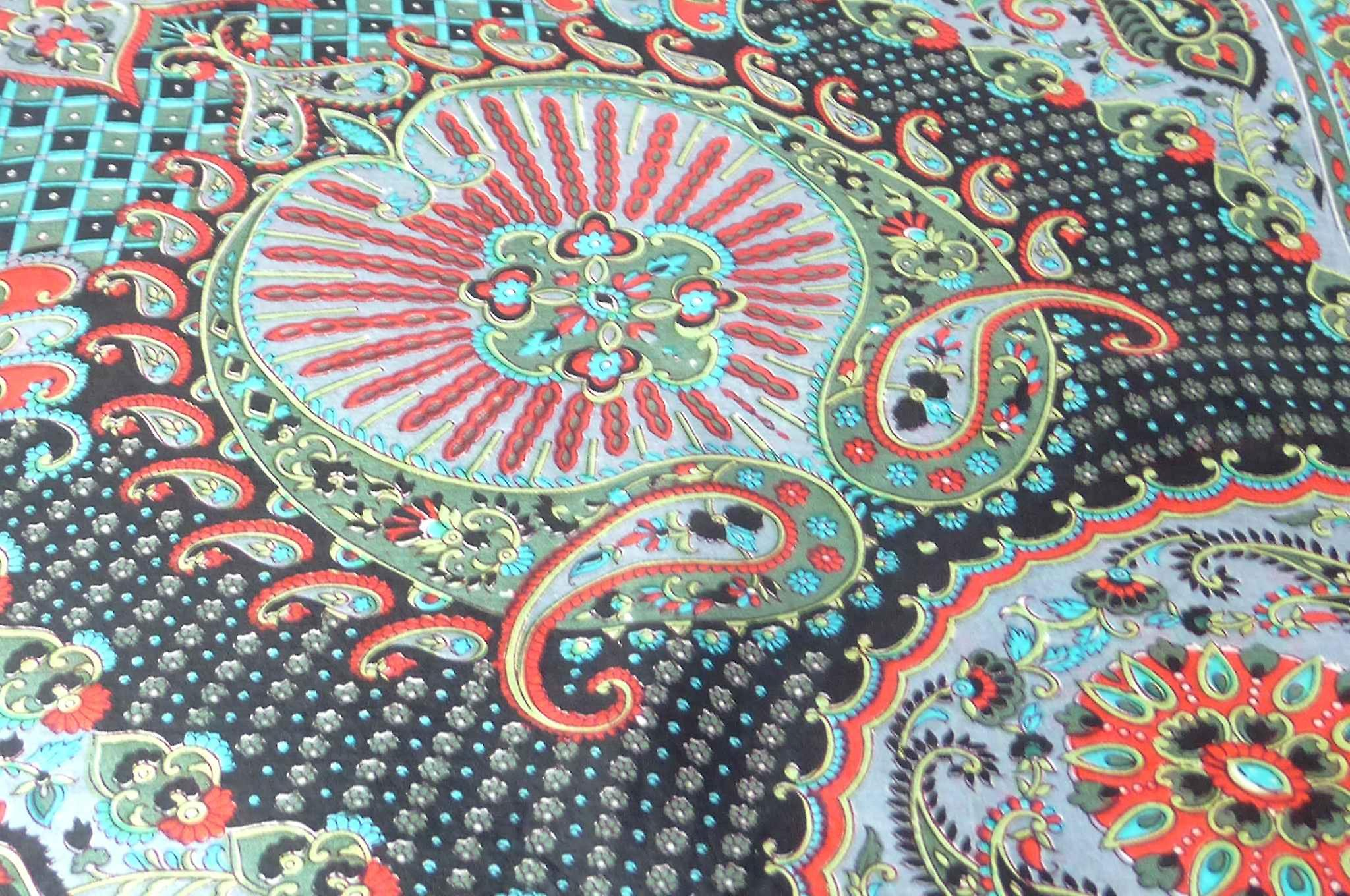Classic Paisley Square Scarf Mulberry Silk Narine Jet by Pashmina & Silk