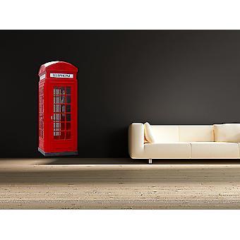 اللون الكامل الهاتف الحمراء البريطانية مربع الجدار اللاصق