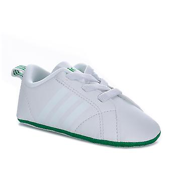 Baby Adidas Vs Advantage Crib Shoes In White Green-Elasticated Schnürsenkel - Soft