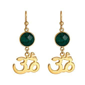 Gemshine YOGA Ohm Earrings 925 Silver, gold plated or rose - Emerald - 4 cm