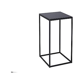 Gillmore Black Glass And Black Metal Contemporary Square Lamp Table