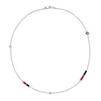 Collar de cadena de diamantes rojos de Cincinnati en diseño de plata de ley por BIXLER