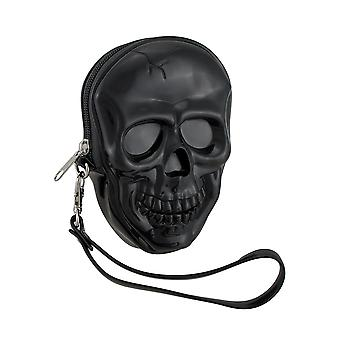 Blank sort støbt kraniet formet Wristlet pung w/aftagelig strop