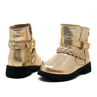Sara Z peuter meisjes glanzende laarzen met gevlochten staps