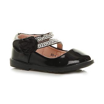 Ajvani tyttöjen tasainen helmi kukka hihna morsiusneito puolue muodollinen kengät